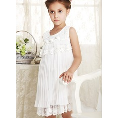 A-Line/Princess Short/Mini Flower Girl Dress - Polyester/Cotton Sleeveless Scoop Neck With Ruffles/Lace/Flower(s)