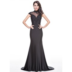 Trumpet/Mermaid High Neck Sweep Train Jersey Evening Dress With Beading Appliques Lace Sequins