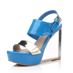 Women's Patent Leather Wedge Heel Sandals Slingbacks shoes