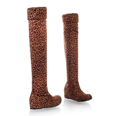 Women's Suede Wedge Heel Knee High Boots With Animal Print shoes