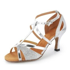 Women's Sparkling Glitter Patent Leather Heels Sandals Latin Salsa Wedding Party With T-Strap Dance Shoes