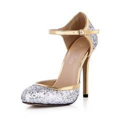 Women's Leatherette Sparkling Glitter Stiletto Heel Closed Toe Pumps With Buckle