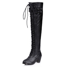 Leatherette Chunky Heel Closed Toe Boots Knee High Boots With Buckle Braided Strap shoes