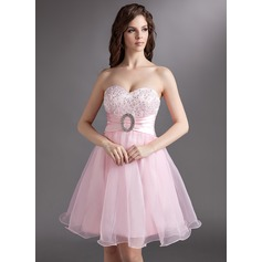 Empire Sweetheart Knee-Length Organza Homecoming Dress With Lace Beading Sequins Bow(s)