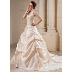Ball-Gown Halter Cathedral Train Satin Wedding Dress With Embroidered Beading