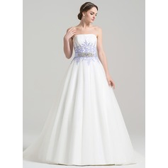 Ball-Gown Strapless Court Train Tulle Wedding Dress With Ruffle Beading Appliques Lace Sequins Bow(s)