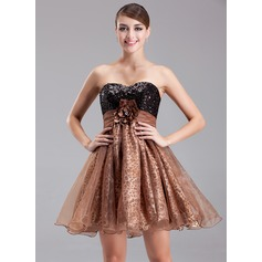 Empire Sweetheart Short/Mini Organza Sequined Cocktail Dress With Ruffle Beading Flower(s)
