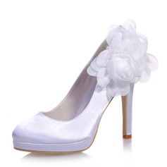 Women's Satin Stiletto Heel Closed Toe Platform Pumps With Imitation Pearl Satin Flower