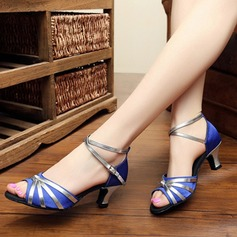 Women's Satin Heels Pumps Latin Jazz Practice Party Tango With Ankle Strap Dance Shoes (053108878)