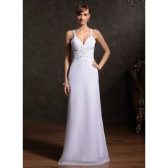 Sheath/Column Sweetheart Floor-Length Chiffon Holiday Dress With Ruffle Beading