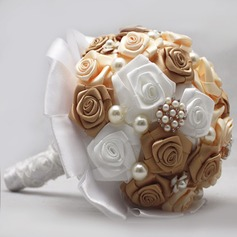 Gorgeous Round Satin Bridal Bouquets (123069391)