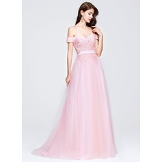 A-Line/Princess Off-the-Shoulder Sweep Train Tulle Prom Dress With Beading Appliques Lace Sequins