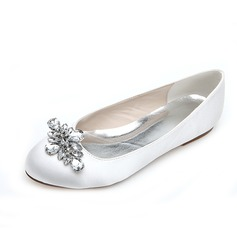Women's Satin Flat Heel Closed Toe Flats With Rhinestone (047054653)