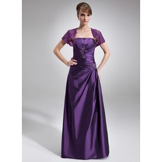 A-Line/Princess Strapless Floor-Length Taffeta Mother of the Bride Dress With Ruffle Beading