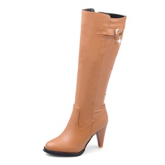Leatherette Cone Heel Mid-Calf Boots With Zipper shoes