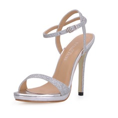 Women's Sparkling Glitter Stiletto Heel Sandals Slingbacks With Buckle