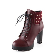Leatherette Chunky Heel Ankle Boots With Rivet shoes