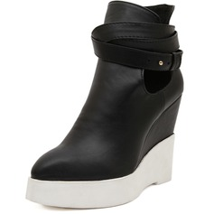 Leatherette Wedge Heel Platform Wedges Boots Ankle Boots shoes