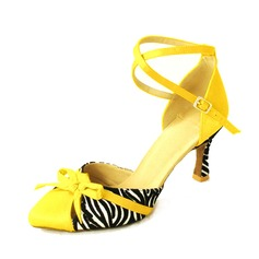 Women's Satin Heels Pumps Modern With Bowknot Ankle Strap Dance Shoes