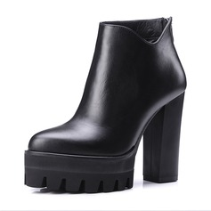 Women's Real Leather Chunky Heel Boots Ankle Boots shoes