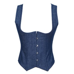 Denim Lace-Up/Front Busk Shapewear (S-2XL)