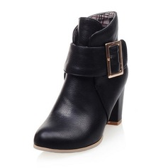 Women's Leatherette Chunky Heel Pumps Closed Toe Boots Ankle Boots With Button shoes