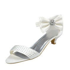 Women's Satin Kitten Heel Peep Toe Sandals With Bowknot Rhinestone