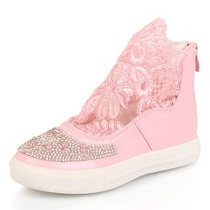 Girl's Lace Leatherette Flat Heel Closed Toe Boots With Rhinestone