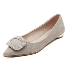 Suede Flat Heel Flats Closed Toe With Rhinestone shoes