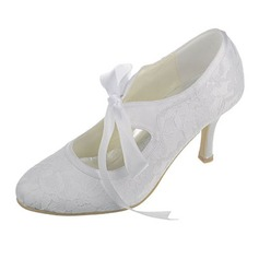 Women's Lace Silk Like Satin Spool Heel Closed Toe Pumps With Ribbon Tie