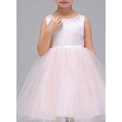 A-Line/Princess Knee-length Flower Girl Dress - Polyester Sleeveless Scoop Neck With Sash/Sequins