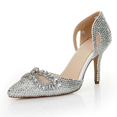 Women's Patent Leather Stiletto Heel Closed Toe Pumps With Imitation Pearl Rhinestone