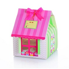 Cute House Shaped Cuboid Cupcake Boxes With Ribbons