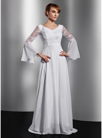 A-Line/Princess V-neck Chapel Train Chiffon Mother of the Bride Dress With Lace Beading