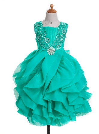 A-Line/Princess Square Neckline Knee-Length Satin Flower Girl Dress With Bow(s) Pleated