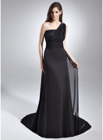 A-Line/Princess One-Shoulder Watteau Train Chiffon Satin Evening Dress With Ruffle Beading