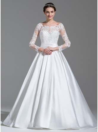 Ball-Gown Scoop Neck Sweep Train Satin Lace Wedding Dress With Ruffle