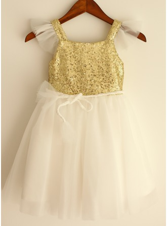 A-Line/Princess Knee-length Flower Girl Dress - Sequined Sleeveless Straps With Sash/Sequins
