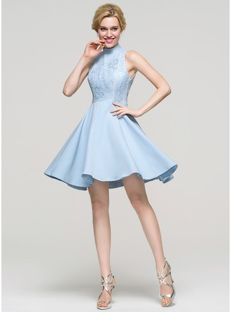 A-Linie/Princess-Linie High Neck Kurz/Mini Satin Ballkleid