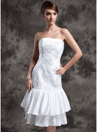 Sheath/Column Strapless Knee-Length Taffeta Lace Wedding Dress With Beading Appliques Lace Sequins