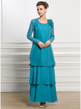 A-Line/Princess Scoop Neck Ankle-Length Chiffon Mother of the Bride Dress