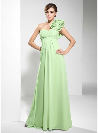 Empire One-Shoulder Floor-Length Chiffon Evening Dress With Ruffle Flower(s)