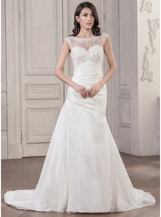 Trumpet/Mermaid Scoop Neck Chapel Train Taffeta Tulle Wedding Dress With Ruffle Beading Appliques Lace Sequins