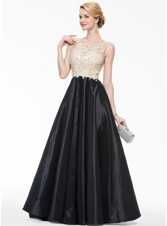 A-Line/Princess Scoop Neck Floor-Length Taffeta Tulle Prom Dress With Beading Appliques Lace Sequins