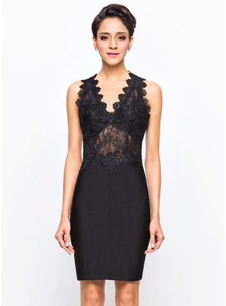 Sheath/Column V-neck Knee-Length Lace Jersey Cocktail Dress