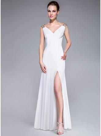 Trumpet/Mermaid V-neck Sweep Train Tulle Jersey Evening Dress With Beading Sequins