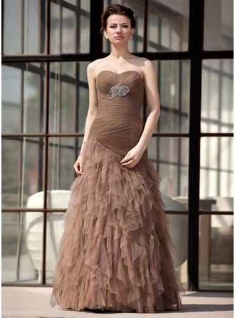Trumpet/Mermaid Sweetheart Floor-Length Tulle Mother of the Bride Dress With Ruffle Beading