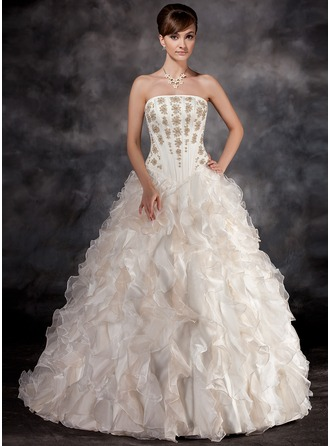 Ball-Gown Strapless Court Train Organza Wedding Dress With Beading Cascading Ruffles