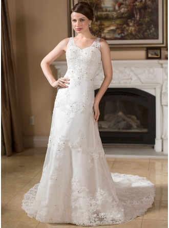 A-Line/Princess V-neck Chapel Train Organza Satin Wedding Dress With Lace Beading