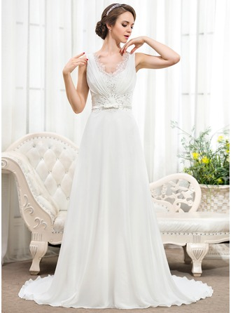 A-Line/Princess V-neck Court Train Chiffon Charmeuse Wedding Dress With Ruffle Lace Beading Sequins Bow(s)
